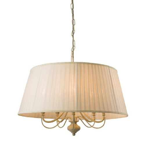Cream with brushed gold effect paint & off white faux silk Pendant Light 60934 by Endon